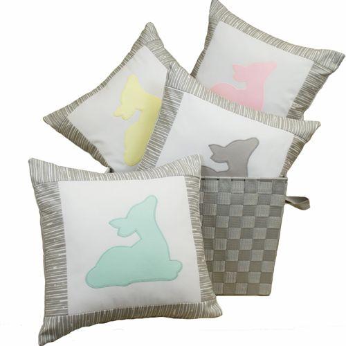 Sweet Kyla - GREY DEER Decor Nursery Pillow - Fawn Applique, $31.99 (http://www.sweetkyla.com/grey-deer-decor-nursery-pillow-fawn-applique/)