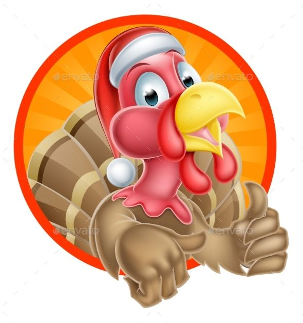Turkey Santa Cartoon