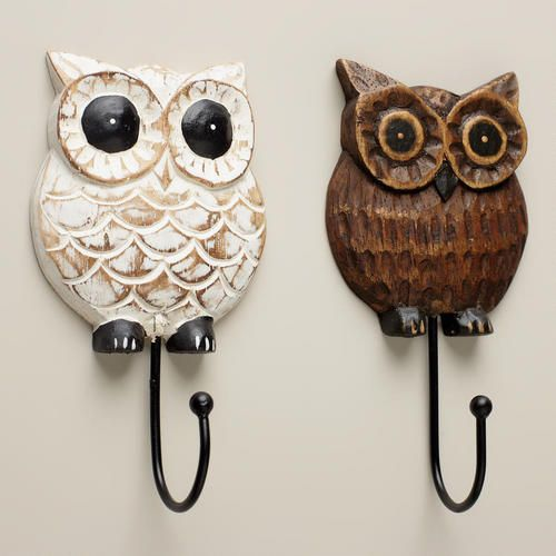 One of my favorite discoveries at WorldMarket.com: Wood Owl Hooks, Set of 2