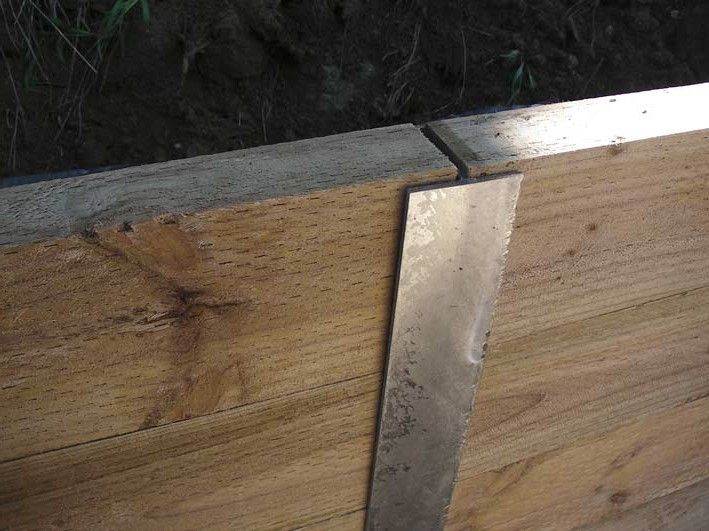 Metal Post Retaining Wall Plank : Sleeper retaining wall on slope google search outdoors
