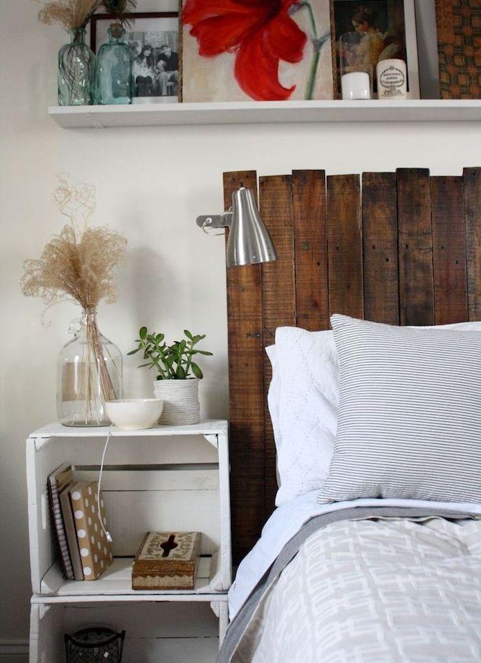 Exemple De Meuble Cagette De Bois Table De Nuit Originale En Cagettes Repeintes De Blanc Rangement Decoration Livre De C Lit En Palette Deco Maison Meuble Deco
