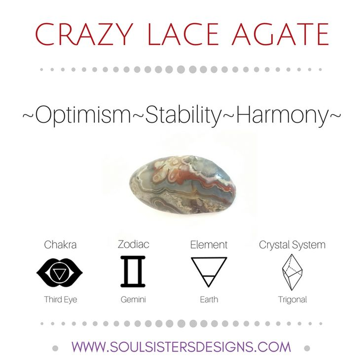 Metaphysical Healing Properties of Crazy Lace Agate, including associated Chakra, Zodiac and Element, along with Crystal System/Lattice to assist you in setting up a Crystal Grid. Go to https:/soulsistersdesigns.com to learn more!