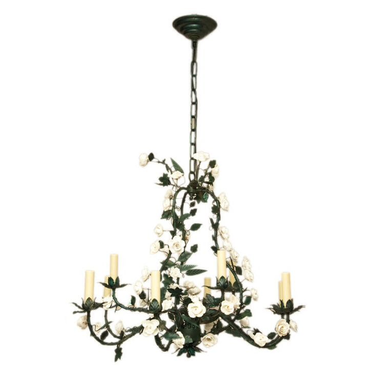 22 best tole chandeliers images on pinterest antique chandelier view this item and discover similar chandeliers and pendants for sale at a 9 light french tole chandelier with white porcelain flowers the green painted mozeypictures Image collections