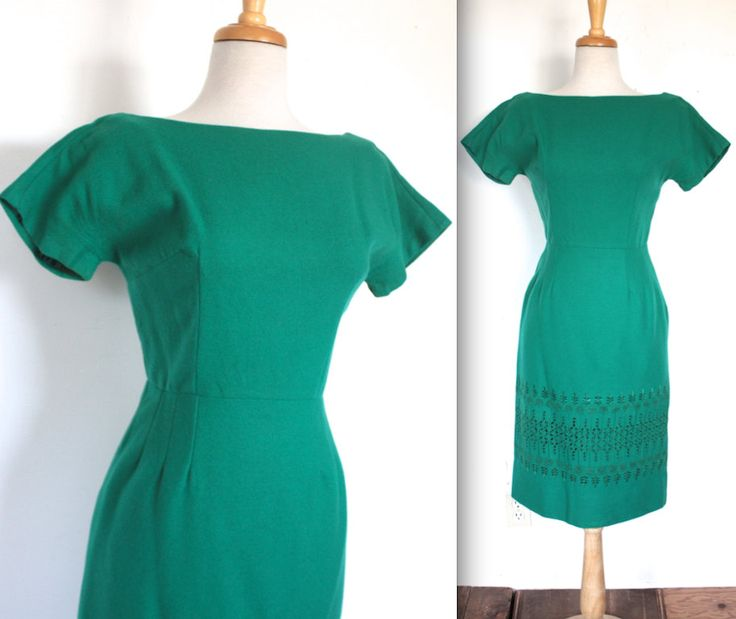 Vintage 1950s Dress // 50s 60s Teal Wool Wiggle Dress with Embroidery // Strangers When We Meet by TrueValueVintage on Etsy