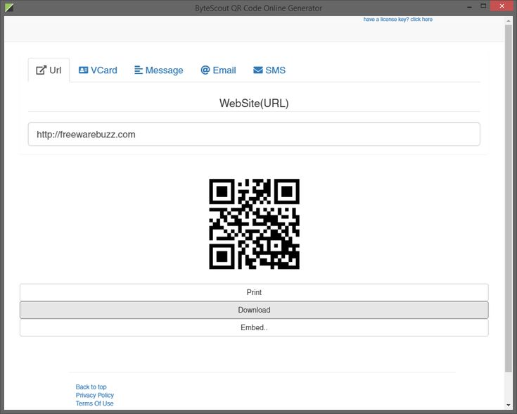 Instantly create QR barcodes from URL, VCard, email, sms