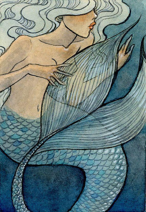 Pearl Mermaid  - Original ACEO - 2.5 x 3.5 miniature artwork - one of a kind Renee Nault