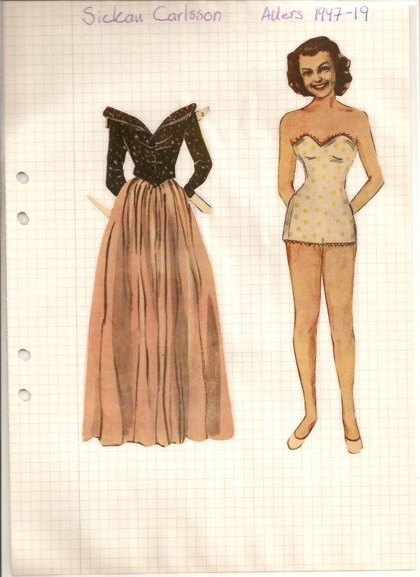 Swedish paper doll of Sickan Carlsson from 1947. She was a Swedish actress and singer. Born 8-12-15 Died 11-2-11 / maggansklippdockor