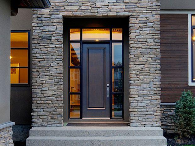 fasad rumah villa menggunakan batu alam home design