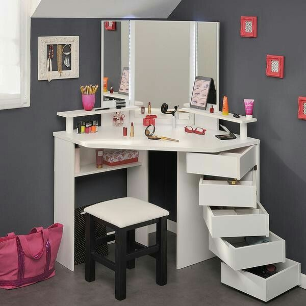 stunning dressing table from French designer Parisot is now available in the UK. From it's great name - the Corner Beauty Bar - to the swivel drawers, it really is a very special piece of furniture girls will love. It features a series of five drawers that swivel out when required. The top three drawers have compartments to keep all the girly stuff organized, the lower two are single drawers for larger items.  The shelves above and below the large desktop offer additional storage space.