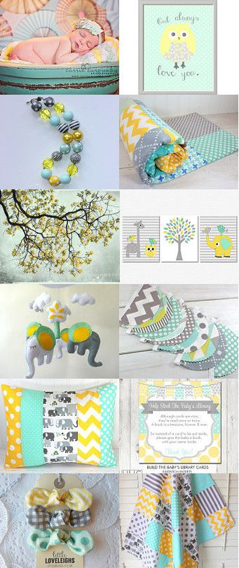 Gray Yellow And Mint Green Baby Nursery by Rachel on Etsy--Pinned with TreasuryPin.com