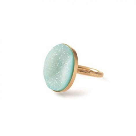 Pernille Corydon Ring, Midi Blue Lagoon, Guld