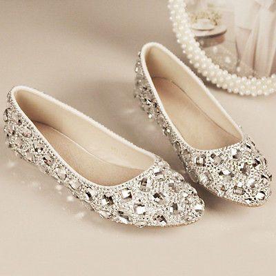 Bling PLATA CRISTAL de tacón bajo plano Nupcial Boda Dama de honor Baile de Graduación Zapatos Talla 5-12