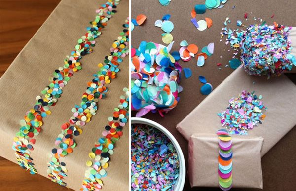 great gift wrapping.  confetti on double stick tape: Diy Ideas, Crafts Ideas, Gifts Ideas, Packaginggift Wraps, Gifts Wraps, Double Side Paper Crafts, Gifts Packaging, Wraps Gifts, Wraps Ideas