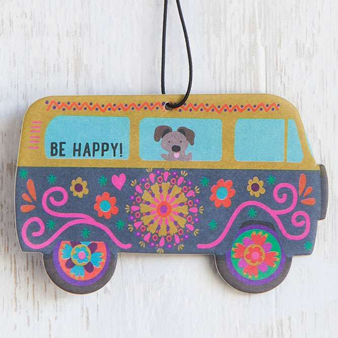 """Van """"Be Happy"""" Air Freshener - You will love this set of three super cute van air fresheners! """"Be Happy"""" sentiment and cute little dog reminds you to live happy. Perfect for school and gym lockers, too! Lemon scent."""