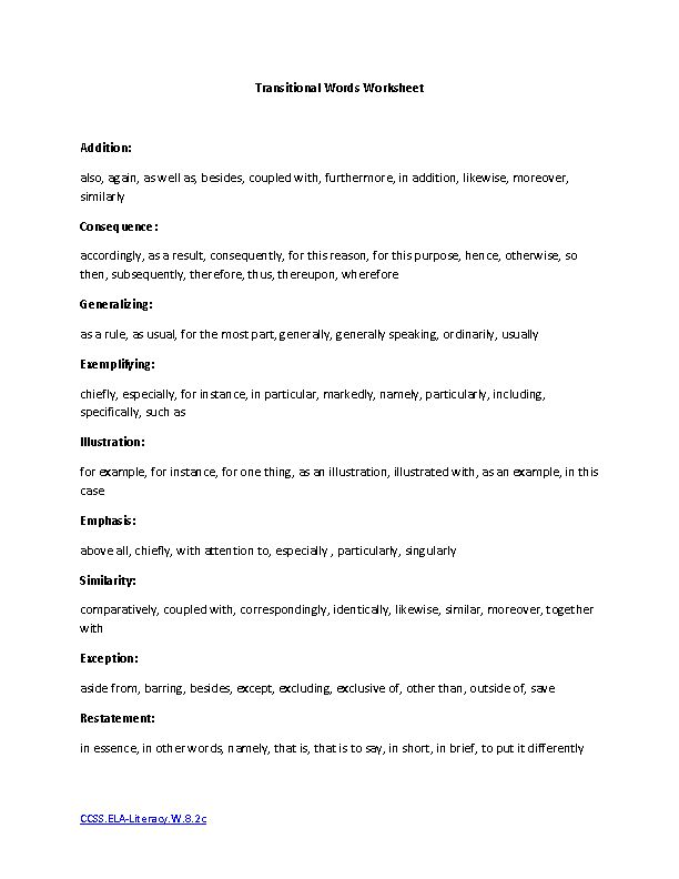 Printables Transitional Words Worksheet 1000 ideas about transition words worksheet on pinterest transitional ela literacy w 8 2c writing worksheet