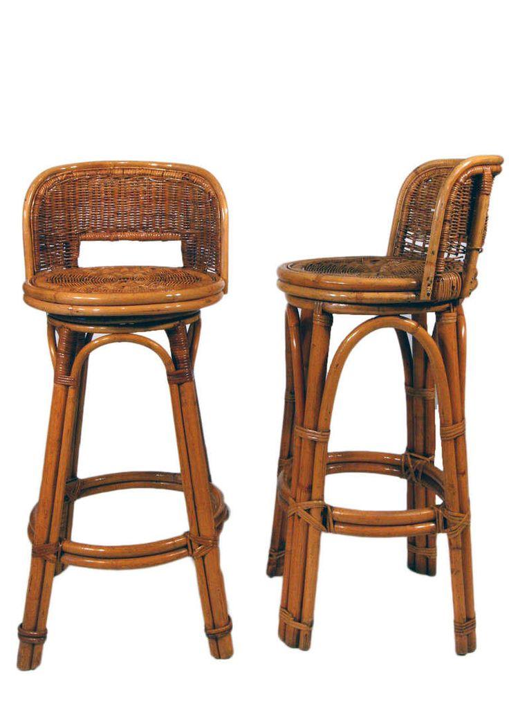 Rattan Bar Stool Pair With Woven Wicker Seats Flea Pop