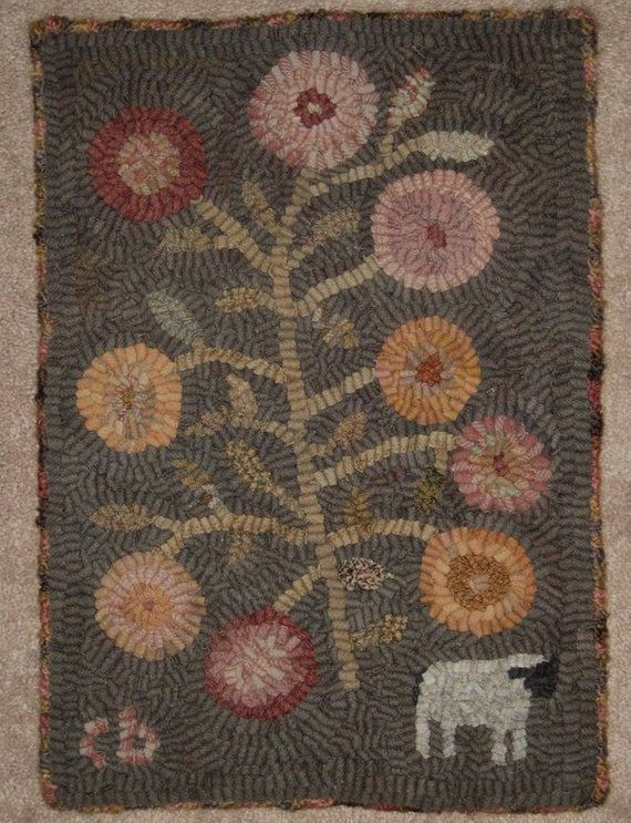 Pattern Primitive Rug Hooking One Sheep From