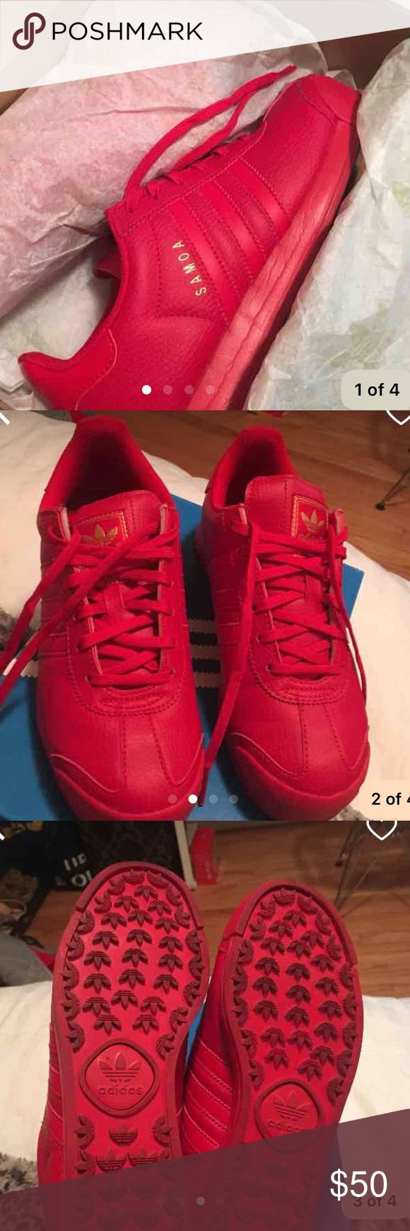 Adidas Samoas All red Adidas. Size 5 kids or 6 womens. Great condition Adidas Shoes Sneakers