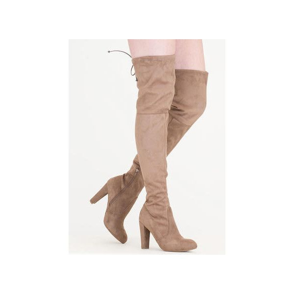 All Legs Over-The-Knee Chunky Boots ($50) ❤ liked on Polyvore featuring shoes, boots, over-the-knee boots, tan, thigh high chunky heel boots, thigh boots, tan high heel boots, tan boots and faux-fur boots