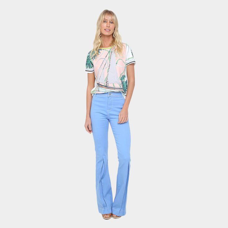 Calça Flare Jeans Flare Forum Lavagem Clara Cintura Alta Feminina - Azul Claro [CLIQUE EM VISITAR]