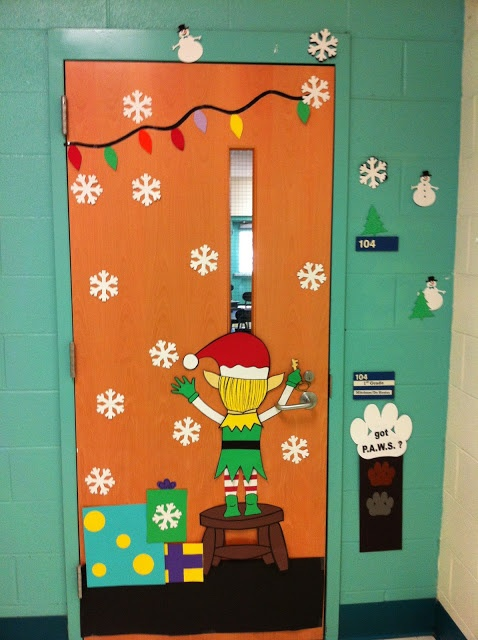 Heaps of different christmas door decorations classroom for Elf door decoration