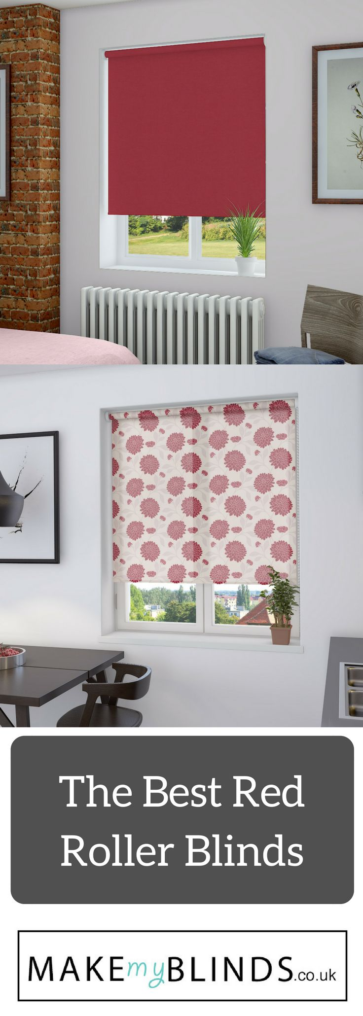 Our Fave red roller blinds in our collection - add some spice to your home with our made to measure blinds.