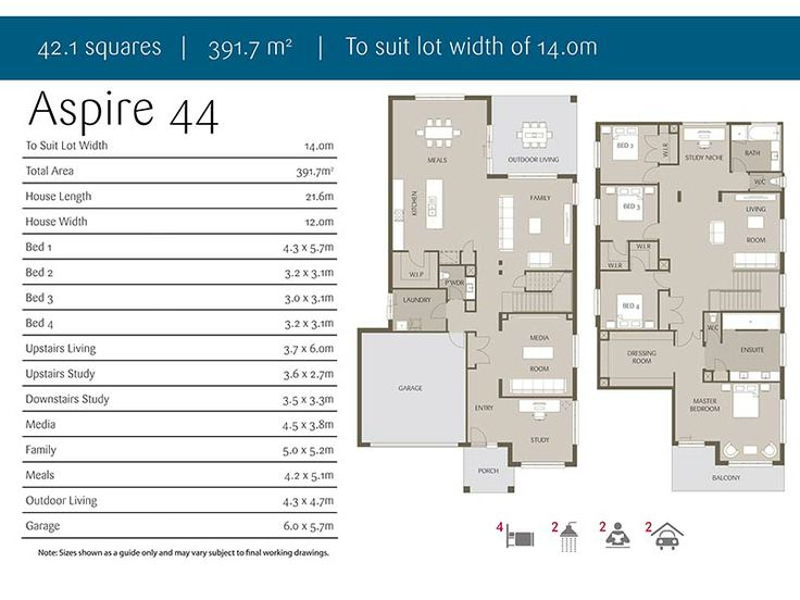 floor plan of aspire 44 double storey house 4 bedroom two living areas - Double Storey House Plans