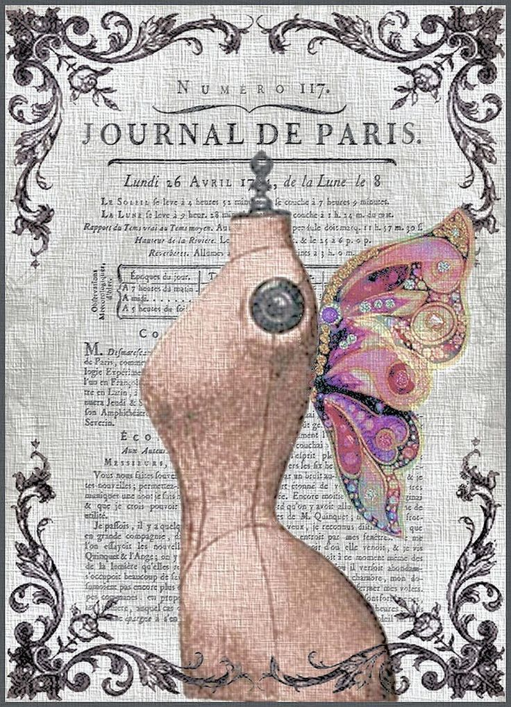 Journal de Paris printable dress form mannequin art