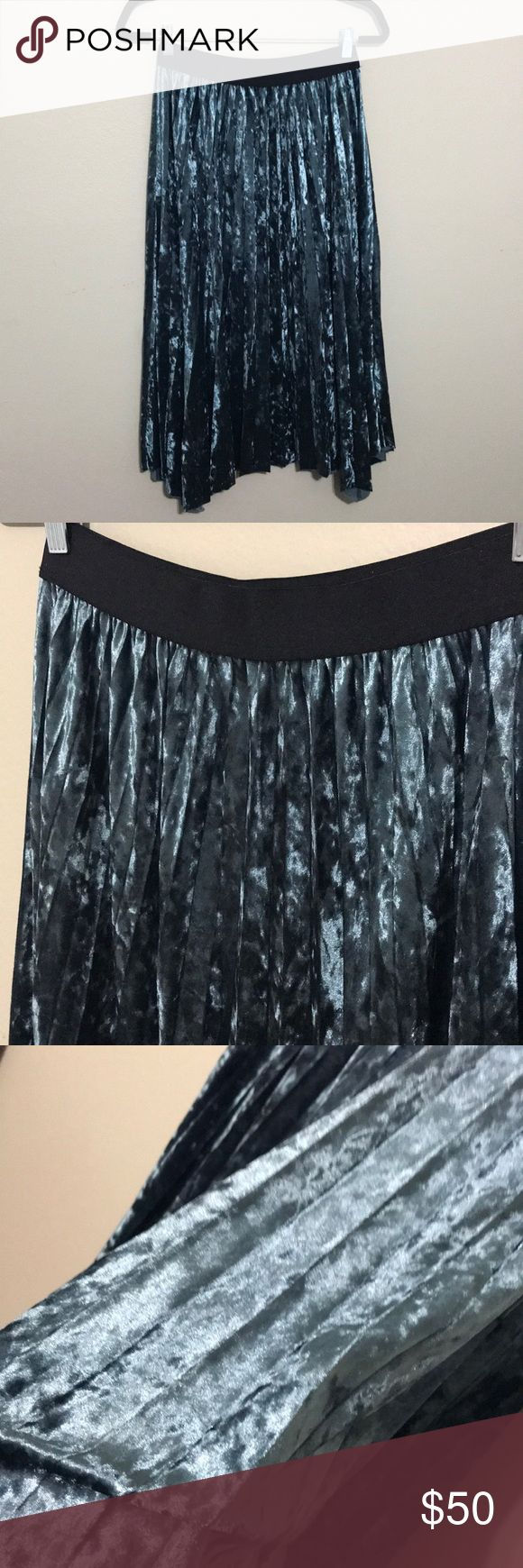 Max Studio Velvet blue pleated skirt Beautiful pleated skirt from max studio. NWT, crushes velvet look is super soft to touch. Elastic waistband, baby blue color with silver shift. Perfect for a night out on the Town! Max Studio Skirts Midi