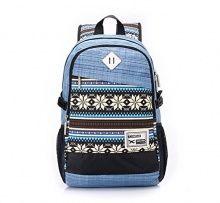 Vere Gloria Men Women Casual Travel Backpacks Striped Tribal Vintage Ethnic Aztec Hiking Daypacks College Satchel High Middle School Students Rucksacks Large Capacity Double Shoulder Strap Laptop Bags (8-Blue) - Backpacks n BagsBackpacks n Bags