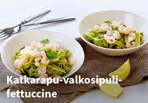 Katkarapu-valkosipuli-fettuccine, Resepti: Valio #kauppahalli24 #resepti #fettuccine #katkarapu #valkosipuli #verkkoruokakauppa