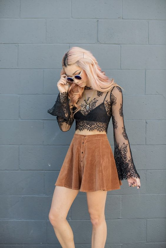 Black lace top and suede A-line skirt. www.publicdesire.com