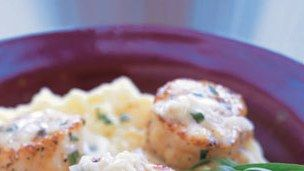 Scallops with Mashed Potatoes with Tarragon Sauce Recipe | Bon Appetit