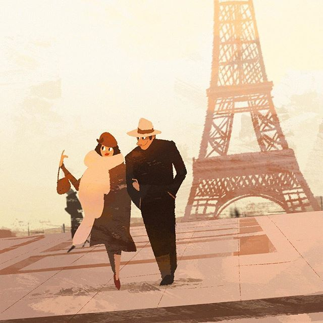 "WEBSTA @ hongsi84 - ""The Conformist"" #speedpaint #drawing #painting #animation #design #conceptart #illustration #그림 #characterdesign #doodle #love #art #movie #character #couple #일러스트 #paris #film"