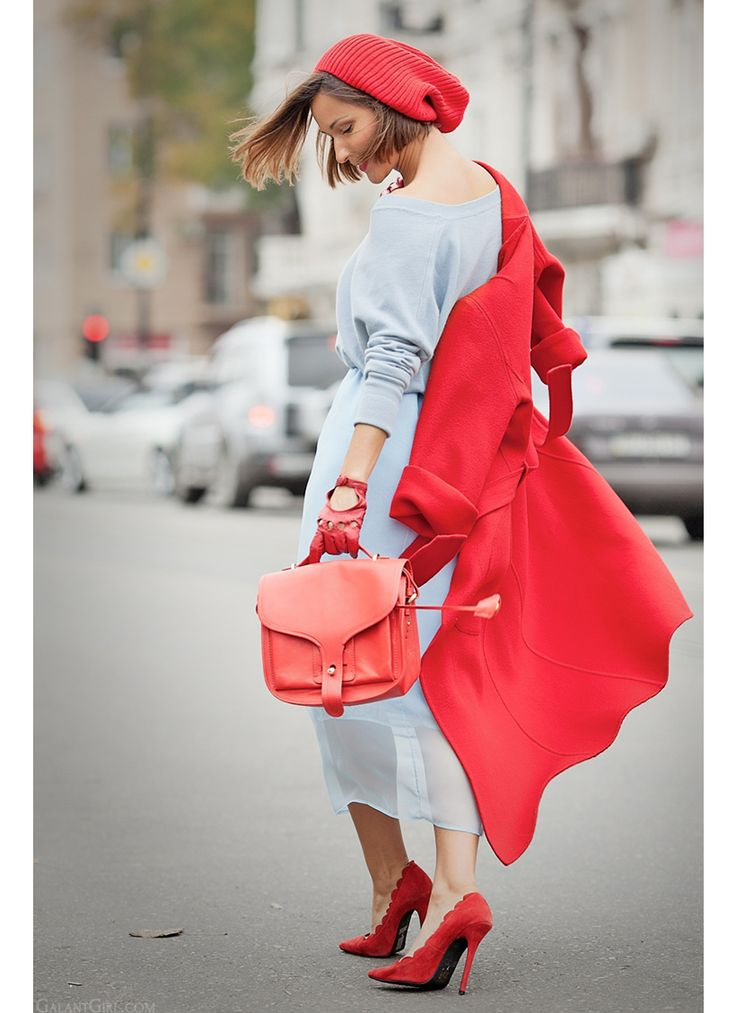 red coat and blue skirt on GalantGirl.com