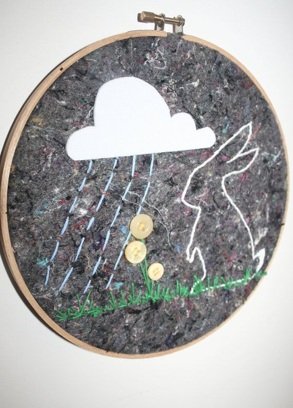 Rainy Day Bunny  Children's Embroidery Hoop Wall by tasha2shoes, $25.00