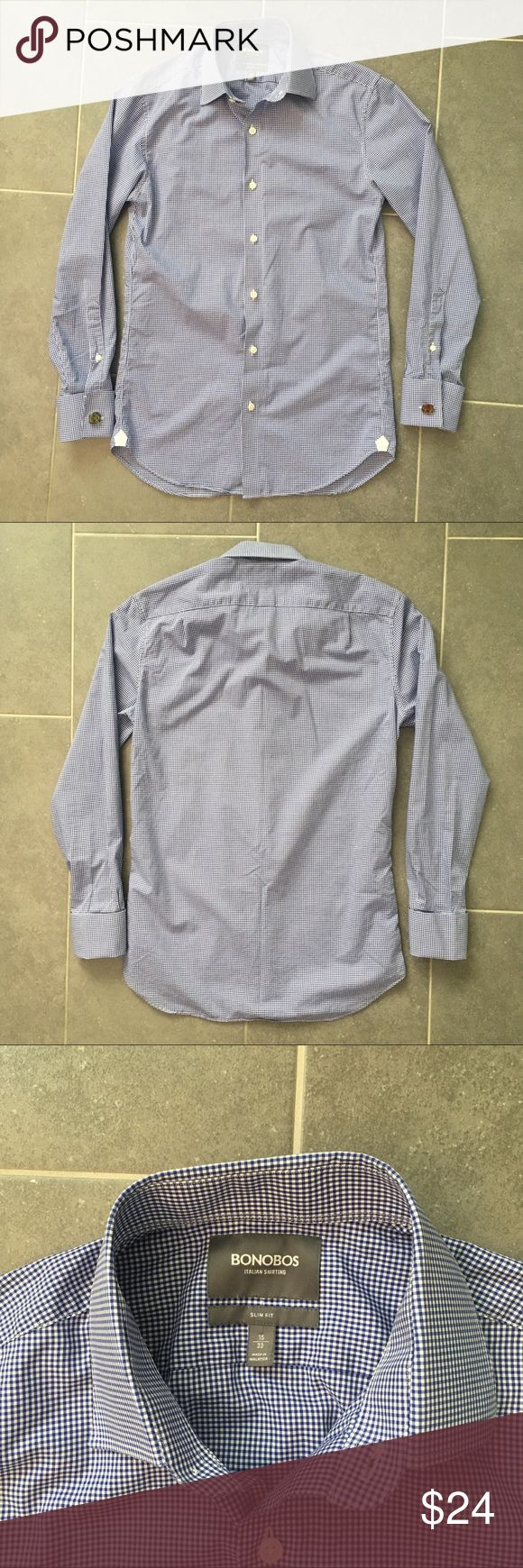 LikeNew Bonobos Dress Shirt High Quality!!! Like new! Excellent condition dress shirt by Bonobos. Slim fit. 15 Neck size with cuff-link wrists - pictured cufflinks not included!   This high quality Italian designed shirt is awesome! Which is how you'll look and feel slipping into this shirt. Don't let someone else buy it out from under you! Priced to sell! Bonobos Shirts Dress Shirts