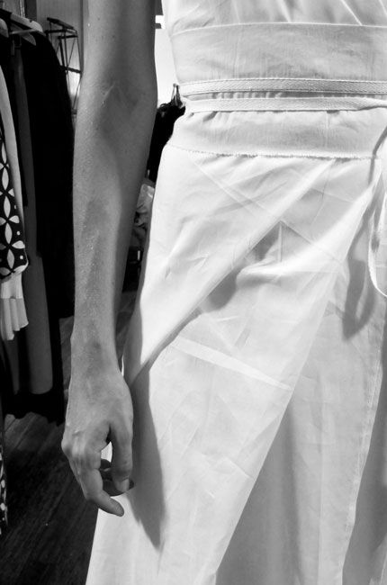 "Behind The Scenes: Prepping For Fashion Week. Lee Mathews  ""White on white. Working with cotton origami folds and wrap belts for sculptural looks."" For more BTS action head to instylemag.com.au"