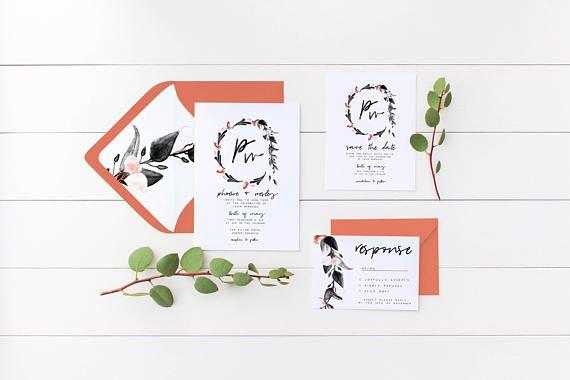 Floral Wreath Wedding Invitation Suite the Phoebe Suite