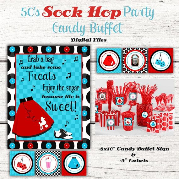 1950's Birthday Party Candy Buffet sign Candy Jar