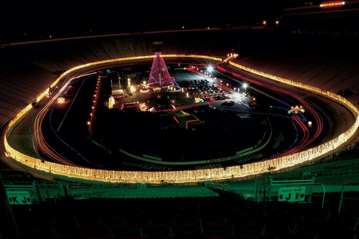 Bristol Motor Speedway, Bristol, TN during Christmas holiday. The speedway and surrounding parking lots are decorated with lights and you are able to drive on the track (it's a rush!).