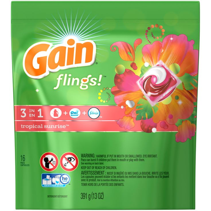 Gain flings! Laundry Detergent Pacs, Tropical Sunrise, 16 count Laundry