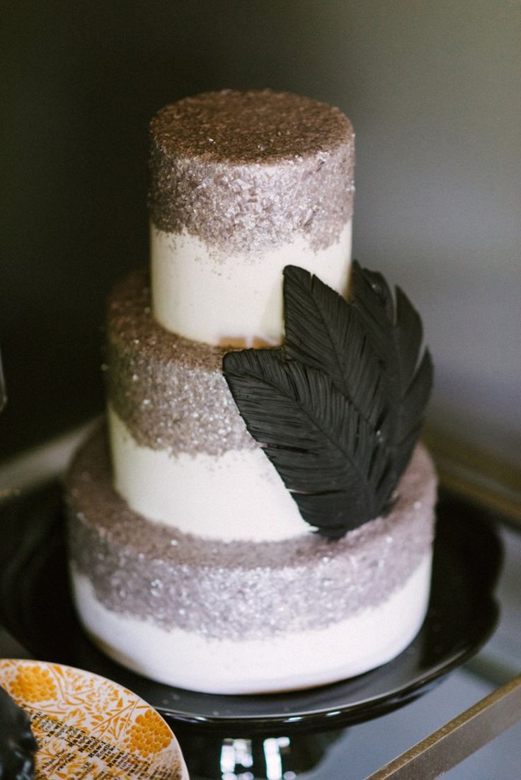 Fall Halloween inspiration - Silver Glitter Wedding Cake with black feathers - Rustic White Photography