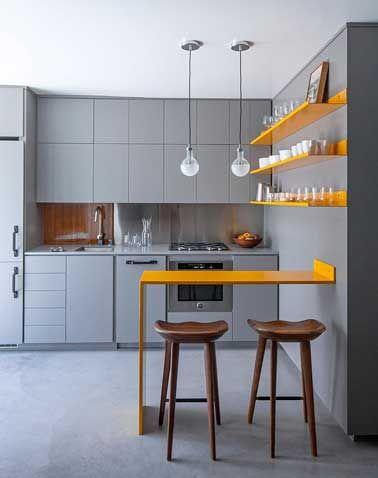 belle unit de volume avec la couleur grise dans cette petite cuisine choisi comme toile