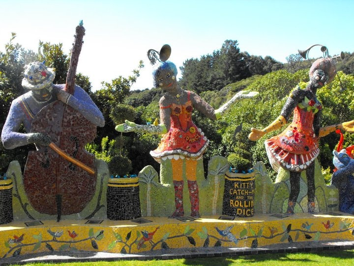Part of the garden in the Giants House Akaroa NZ the entire garden is full of mosaic
