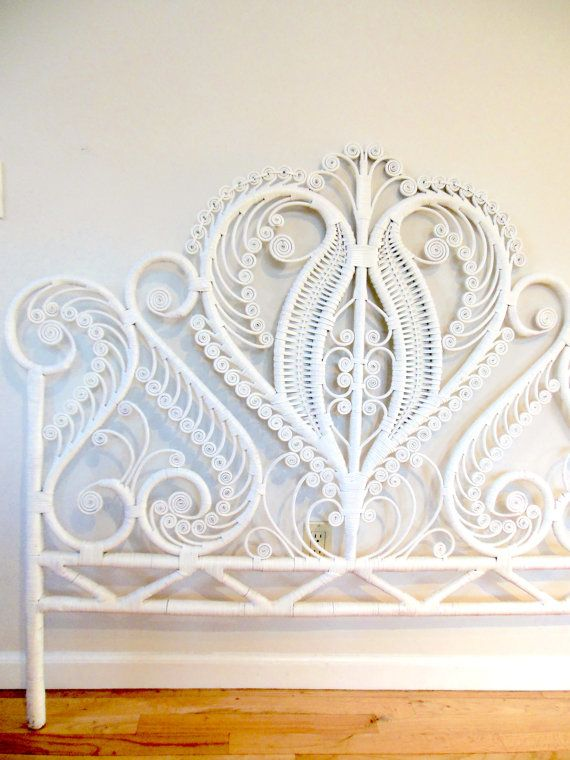 Boho Wicker Headboard White