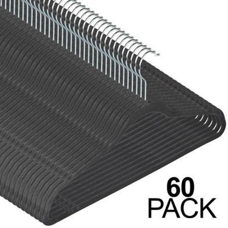 60 Gray Ultra-Thin Slip Free Notched ShoulderVelvet Hangers Closet Grey Pants