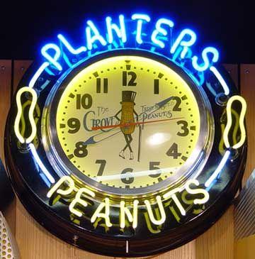 Planters Peanuts Neon Clock