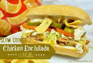 These Copycat Subway Chicken Enchilada Melts are flavorful, gooey, crunchy and just delicious. Made with shredded chicken, cheese, Fritos chips and sandwich toppings, these slow cooker sandwiches are almost too good for words.