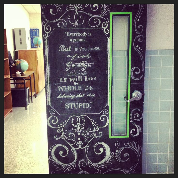 Chalkboard classroom door